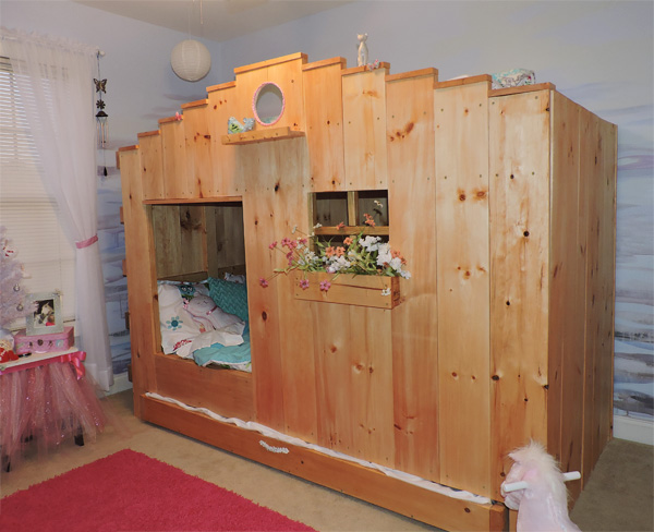 Looking at the fairytale bunkbed from across the room