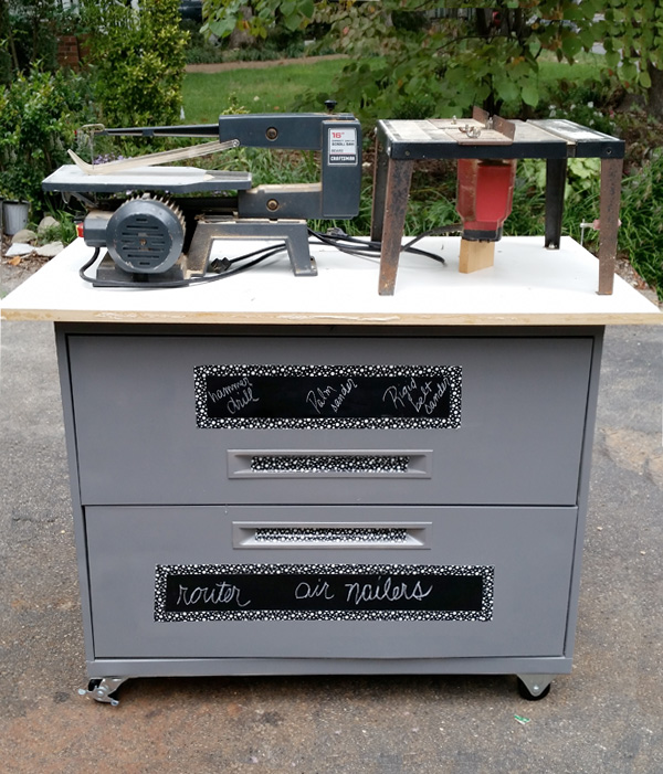 DIY storage garage workbench made from a filing cabinet