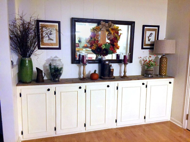 DIY storage buffet made of repurposed kitchen cabinets