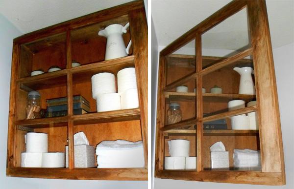 DIY storage cabinet in bathroom made from window frame