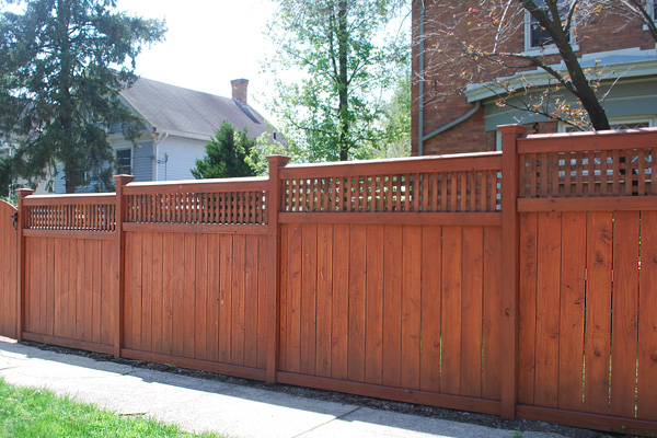 Wooden privacy fence in a neighborhood