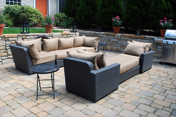 Comfy outdoor seating on a home patio