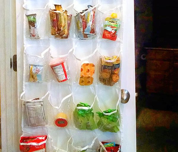 Shoe organizer used to hold grab-and-go snacks