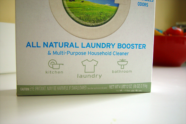 Box of cleaning product with the term natural