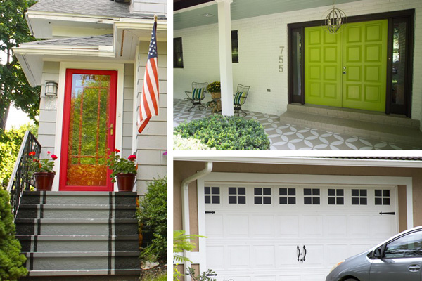 A collage of exterior paint ideas that boost curb appeal