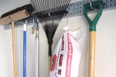 Holey Rail garage organizer