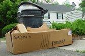 Electronics box outside home on trash day