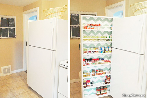 Space-saving can storage next to refrigerator