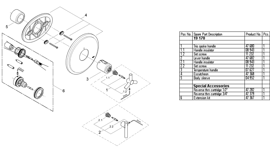 Grohe 19 170 Thermostatic Shower Replacement Parts