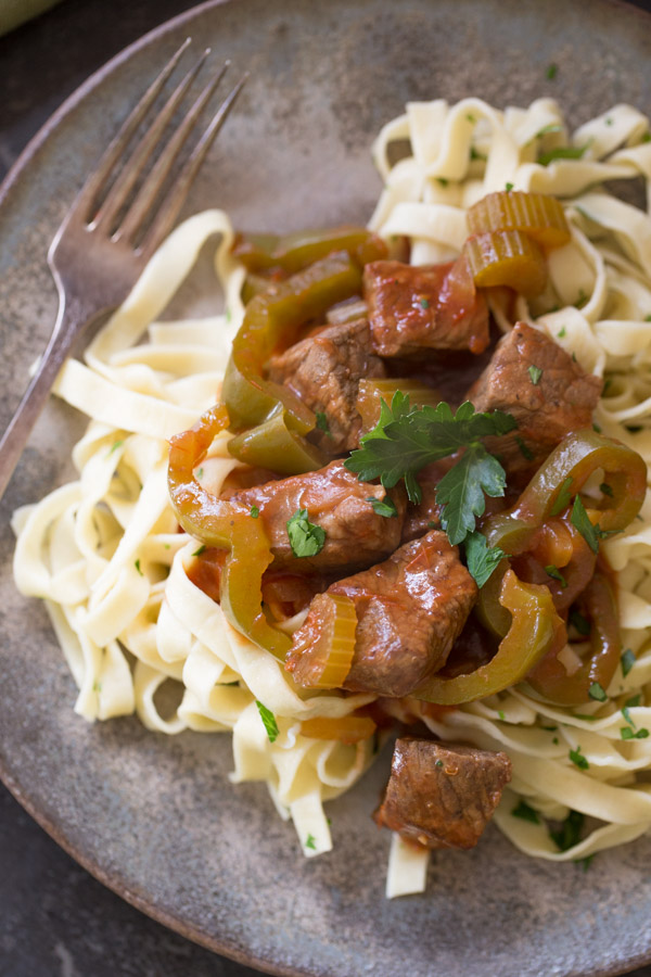 Pepper Steak and Buttery Noodles  The Kitchenthusiast