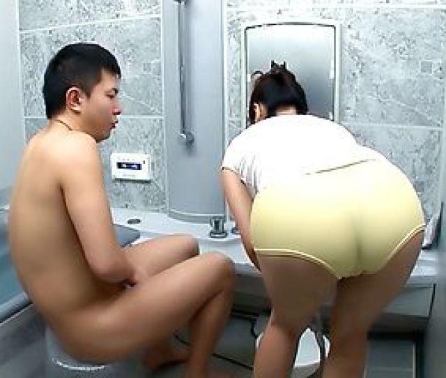 Fetching Mature Japanese Av Model Sucks Cock In The Bathroom