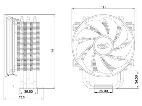 Deepcool Gammaxx 300 CPU Cooler 3 Heatpipes 120mm PWM FAN