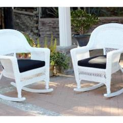 White Resin Wicker Chairs Bean Bag Ikea 2 Piece Ariel Patio Rocker Furniture Set Black Cushions