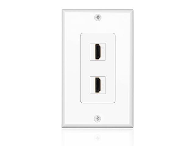 HDMI Wall Plate (2 Port, White) HDMI Socket Plug Insert