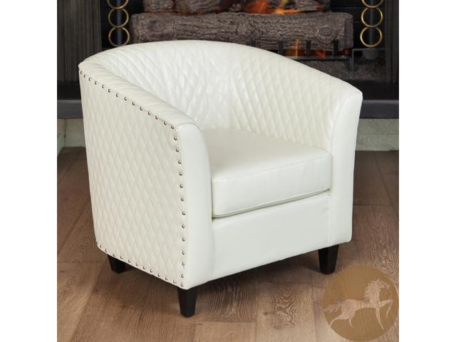 christopher knight club chair real good home mia quilted bonded leather ivory