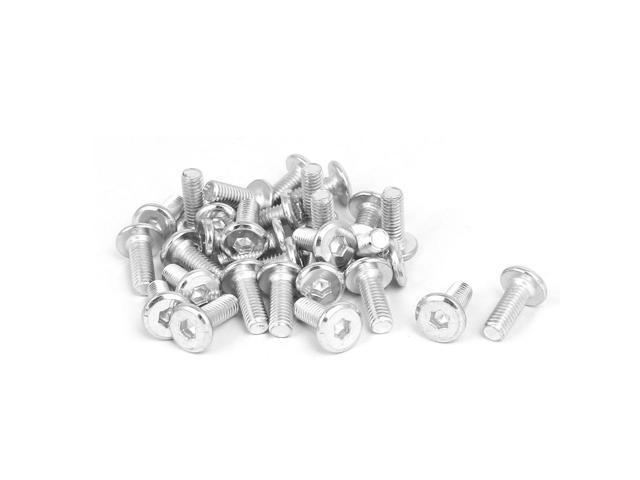 M6x15mm Metal White Zinc Plated Hex Socket Head Furniture