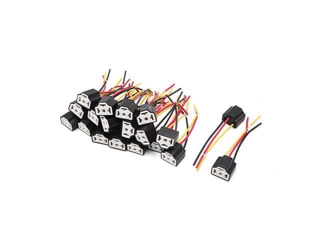 10 PCS Ceramic H4 Lamp Wiring Socket Headlight Harness