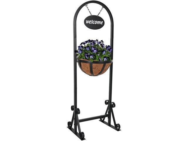 Sunnydaze Hanging Basket Planter Stand with Metal Welcome