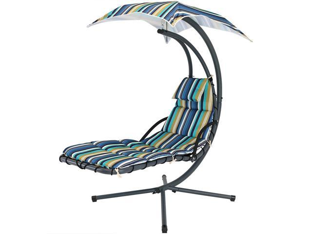 hanging patio swing chair big flower sash sunnydaze floating chaise lounger outdoor hammock with canopy and arc stand