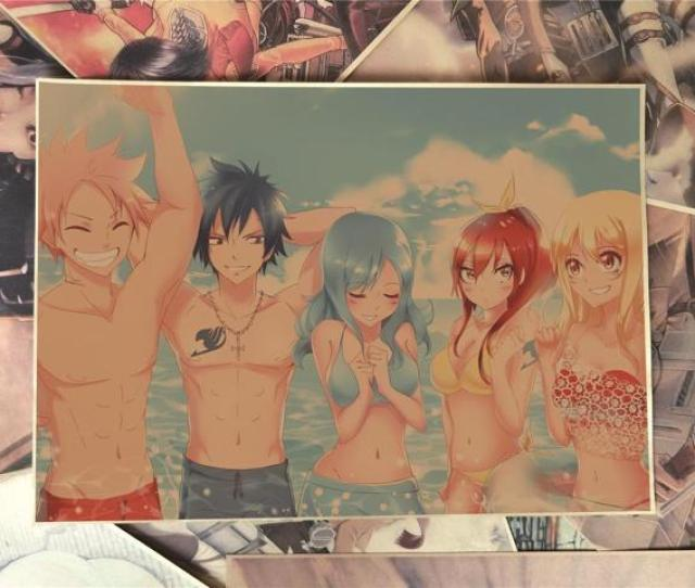 Fairy Tail Natsu Lucy Erza Gray Juvia Poster Anime Poster Kraft Paper Poster Wall Sticker Haib5