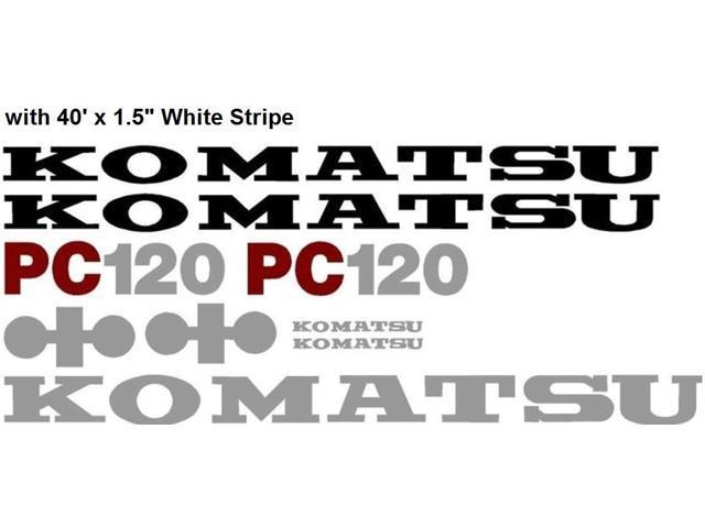 New Komatsu PC 120 Excavator Decal Set with 40' x 1.5