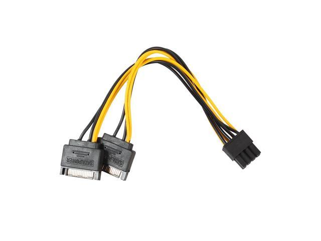 NEW Dual 15 Pin SATA Male to PCIe 8Pin(6+2) Male Power