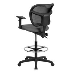 Mesh Drafting Chair Hiking Lightweight Mid Back Gray With Height Adjustment And Adjustable Arms