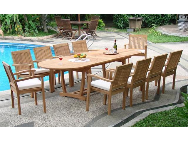 WholesaleTeak 11 Pc Luxurious Grade-A Teak Dining Set -117