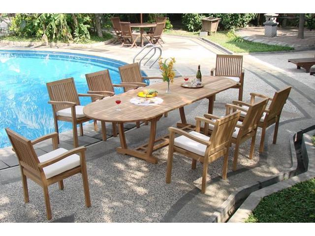 WholesaleTeak 9 Pc Luxurious Grade-A Teak Dining Set -117