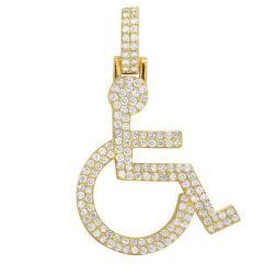 Wheelchair Emoji Bobby Knight Throwing Chair 10k Yellow Gold Handicap Sign Symbol Diamond Pendant 2ct