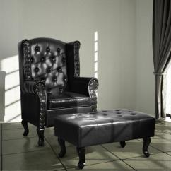 Black Leather Club Chair And Ottoman All Weather White Wicker Rocking Chairs Cloud Mountain Tufted Accent Couch