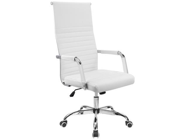 desk chair high cheap banquet covers furmax ribbed office back pu leather executive conference adjustable swivel with arms white