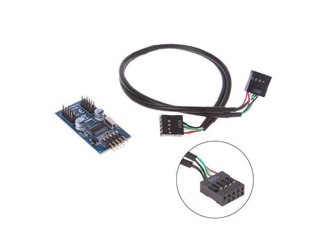 PC Case Internal 9 Pin USB 2.0 To Dual 9 Pin PCB Double
