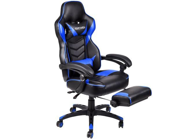 recliner gaming chair upholstered chairs target elecwish office racing large seat computer executive footrest rocker blue
