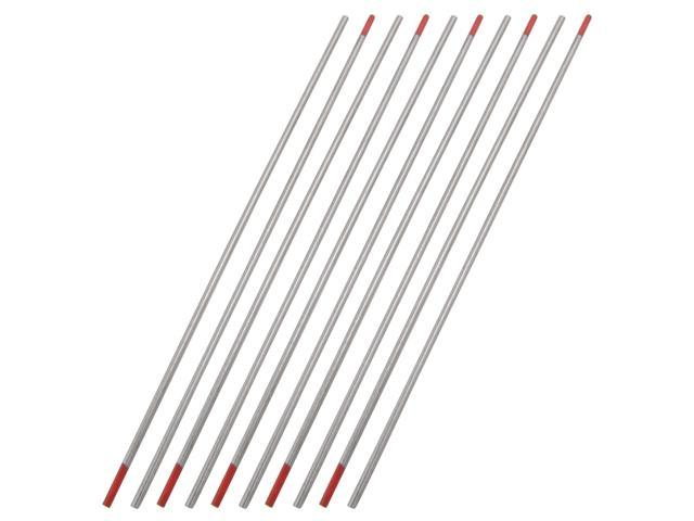 10 Pcs 2mm Diameter 150mm Length Red Tungsten Electrodes