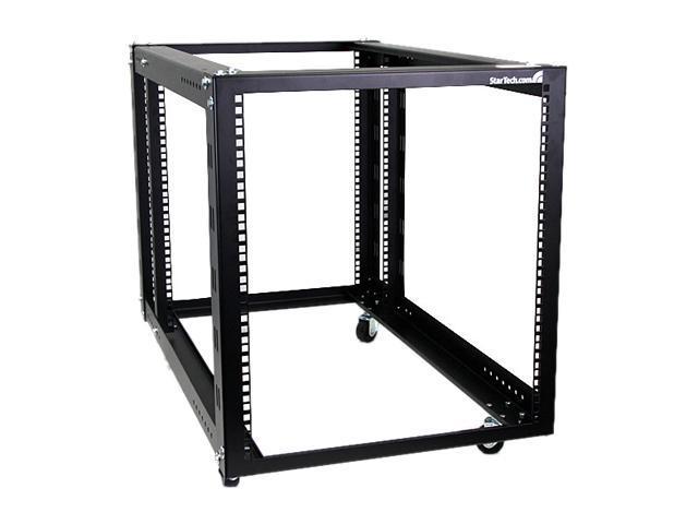 startech com 4postrack12a 12u 4 post server equipment open frame rack with adjustable posts casters