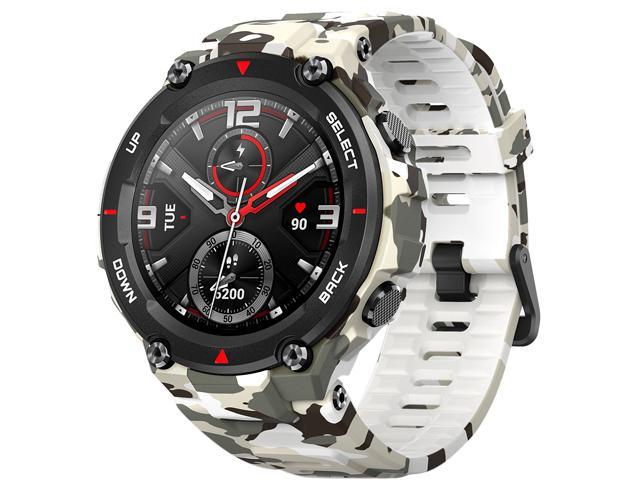 Amazfit T-Rex Smartwatch, Military Standard Certified, Tough Body, GPS, 20-Day Battery Life, 1.3'' AMOLED Display, Water Resistant, 14-Sports Modes, Camo Green