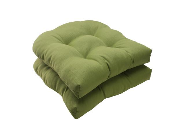 Set Of 2 Solid Olive Green Tufted Outdoor Patio Wicker