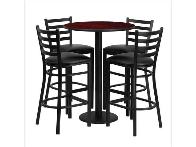 303939 Round Mahogany Laminate Table Set With Round Base And