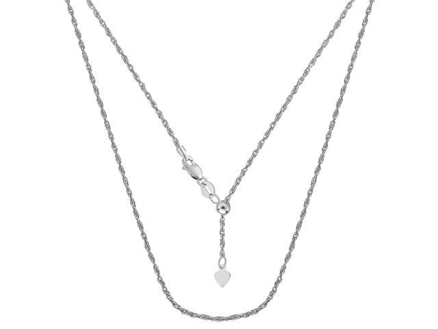 14k White Gold Adjustable Rope Chain Necklace, 1.0mm, 22