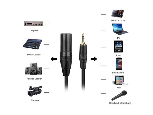 Unbalanced 3.5mm (1/8 Inch) TRS to XLR Male to Male Cable