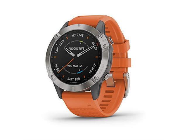 Garmin Fenix 6 Sapphire, Premium Multisport GPS Watch, -Titanium with Orange Band- (010-02158-13)