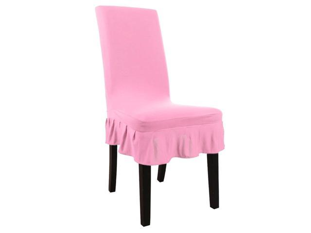 pink slipcover chair childrens table and chairs wood stretch spandex short kitchen dining room covers ruffled skirt multi color seat