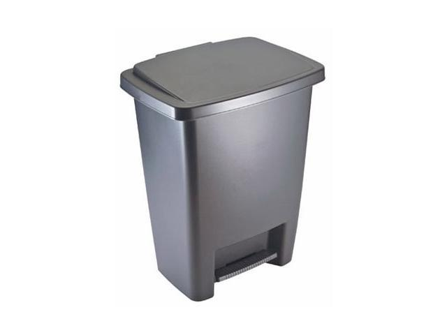 kitchen trash faucets delta rubbermaid 2841 87 cylind 33 qt step on cylinder gray plastic wastebasket