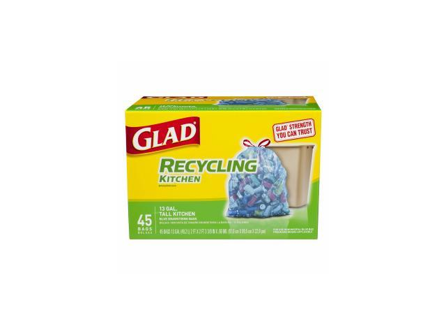 glad tall kitchen drawstring trash bags dinette set recycling 13 gallon blue 45 ea