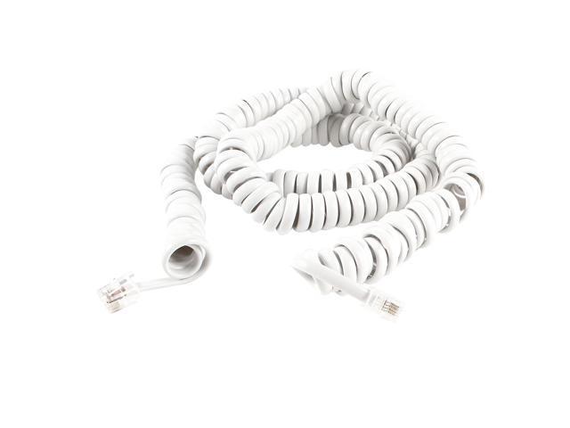 Unique Bargains 7m RJ9 4P4C Plug Coiled Elastic Telephone