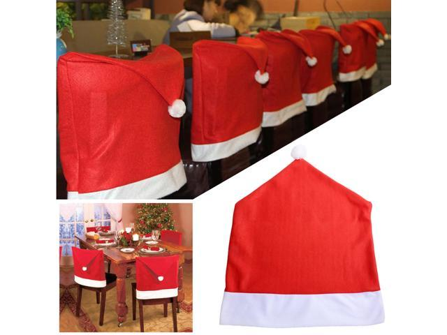santa chair covers sets large living room with ottoman red claus clause hat for dinner cap christmas xmas party