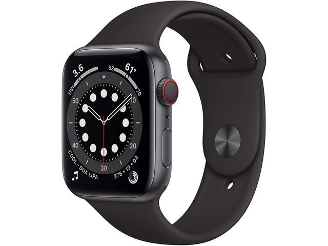 Apple Watch Series 6 44mm Space Gray Aluminum Case with Black Sport Band GPS + Cellular M07H3LL/A