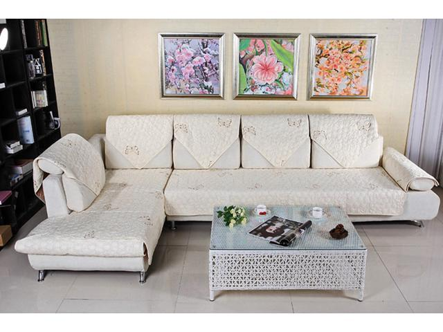 quilted embroidery sectional sofa couch slipcovers furniture protector cotton madrid 90 120cm