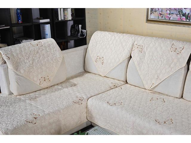 quilted embroidery sectional sofa couch slipcovers furniture protector cotton lazy boy sleeper sofas review 90 160cm